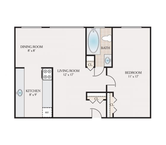1 Bedroom $875.00 660 sq. ft.