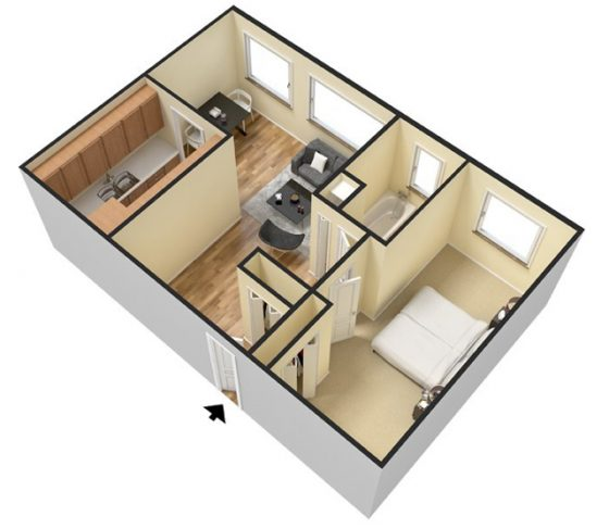 3D - 1 Bedroom. 660 sq. ft.