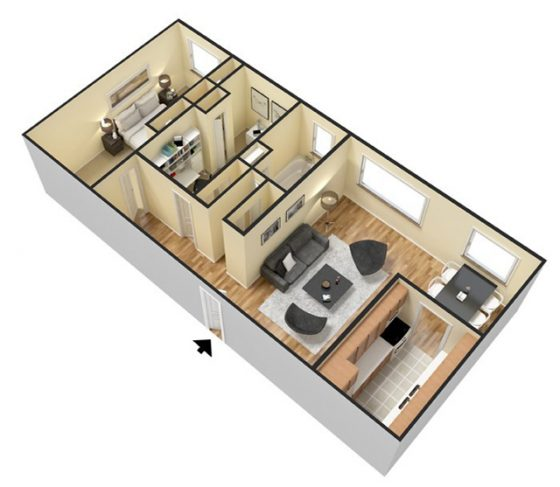 3D - 2 bedroom. 900 sq. ft.